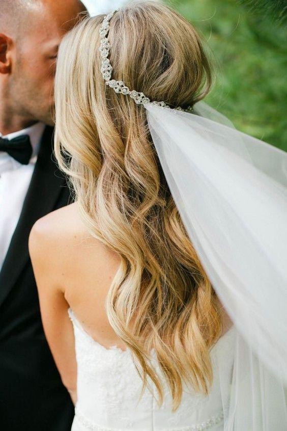 Fryzura ślubna z welonem na ozdobnej opasce