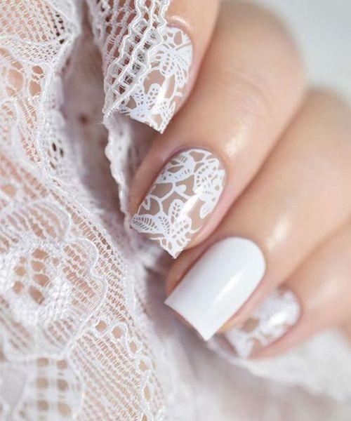 Koronkowe paznokcie na ślub
