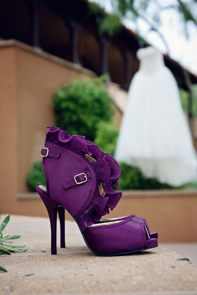 Purpurowe buty na ślub na obcasie