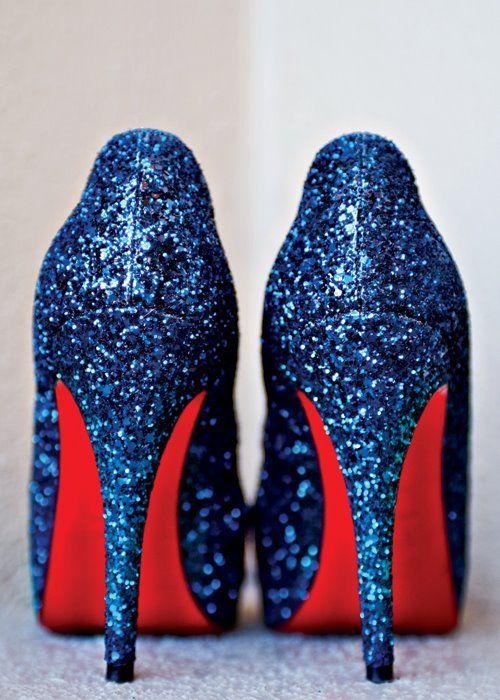 Granatowe buty ślubne z brokatem