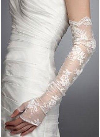 Długie rękawiczki ślubne bez palców z siateczki z haftami