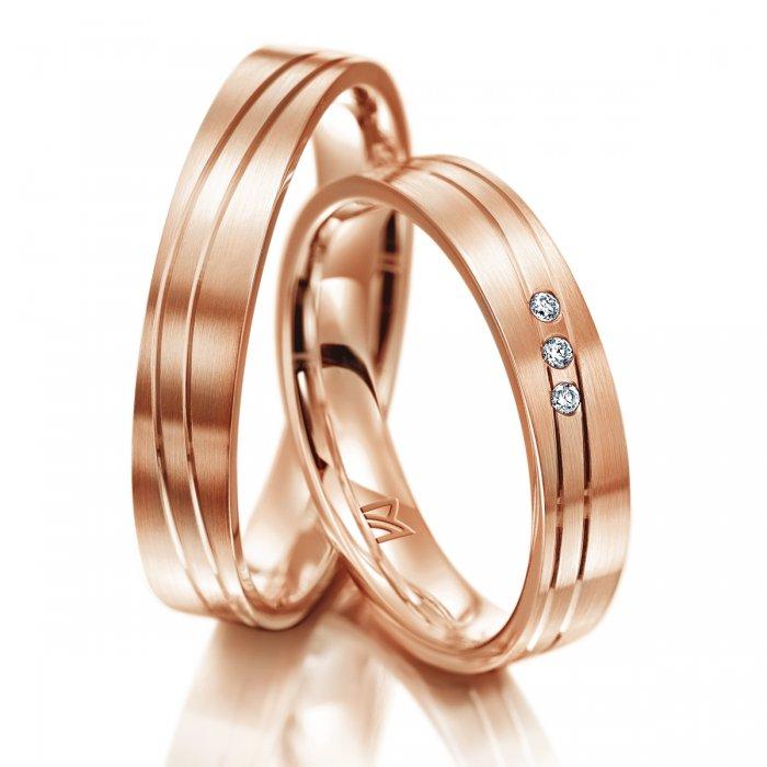 cienkie obrączki z satynowanego różowego złota z polerowanymi paseczkami