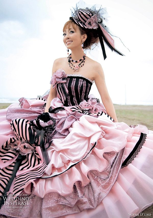 ekstrawagancka suknia ślubna w czerni i różu