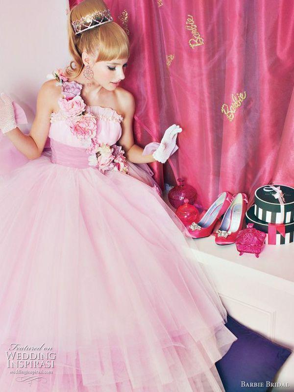 ekstrawagancka suknia ślubna z różowego tiulu