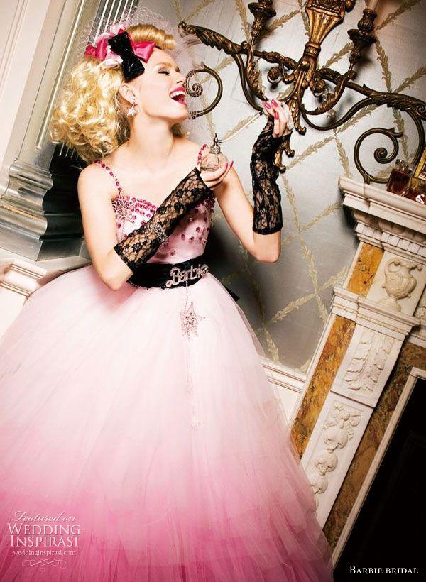 ekstrawagancka tiulowa suknia ślubna w różu i czerni