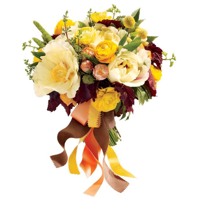 jesienny bukiet ślubny z żółtymi różami w stylu rustykalnym