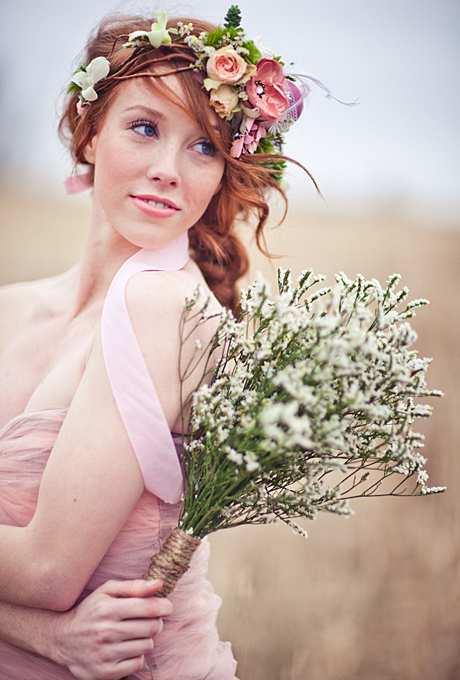 kwiatowa korona w stylu rustykalnym