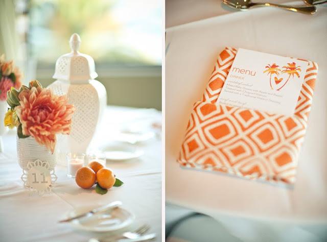 dodatki na wesele w kolorze pomarańczowym