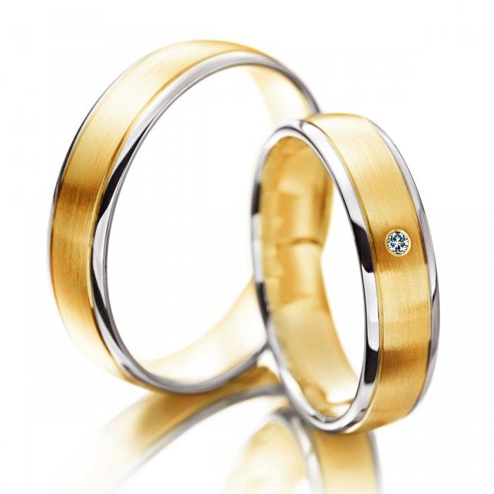 obrączki z białego i żółtego złota w kombinacji połysk-mat