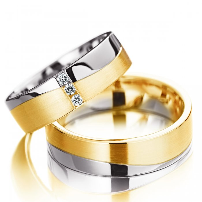 obrączki z łączonego złota z powierzchnią satynowaną i polerowaną