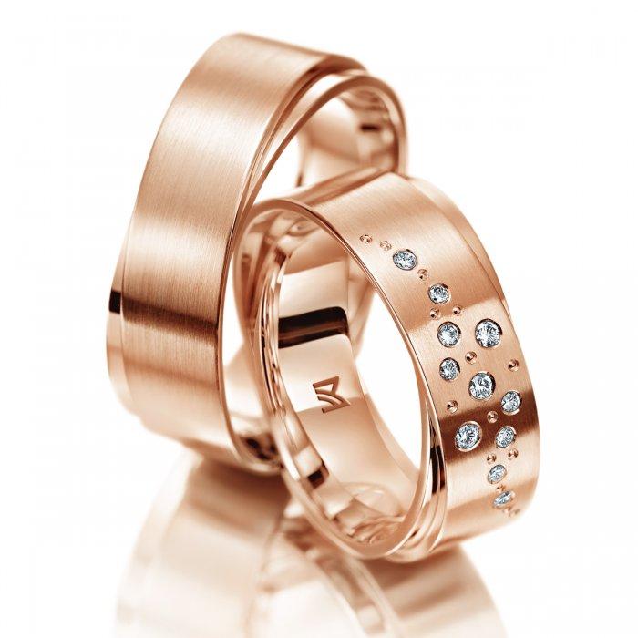 obrączki z różowego złota z efektem podwójnego pierścienia w macie i połysku