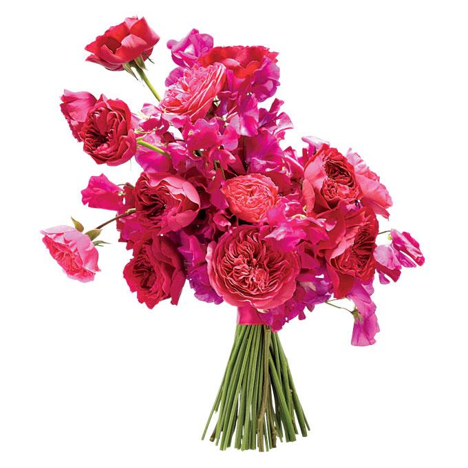 pełna pasji kompozycja kwiatowa z różami ogrodowymi