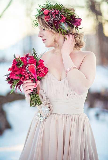 rustykalna korona na zimowy ślub
