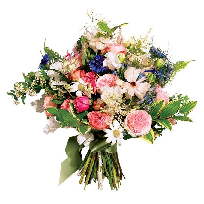 rustykalny bukiet ślubny z ogrodowymi różami