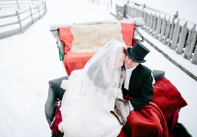 sanie na zimowy ślub