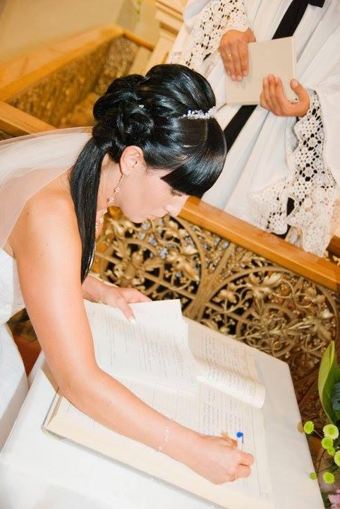 Fryzura ślubna do twarzy prostokątnej
