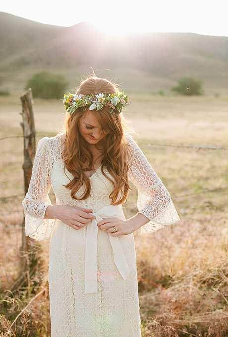 ślubna kwiatowa korona w stylu boho