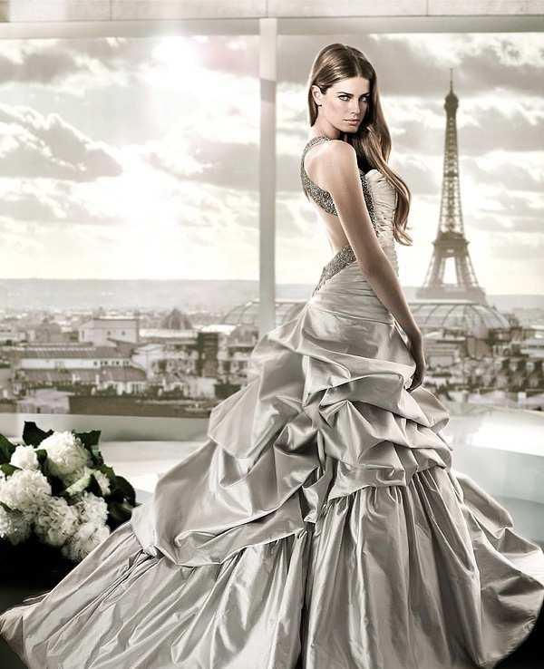 srebrna suknia ślubna