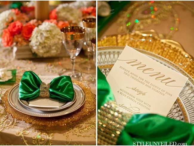 weselne inspiracje w barwach złota i szmaragdu - stół weselny