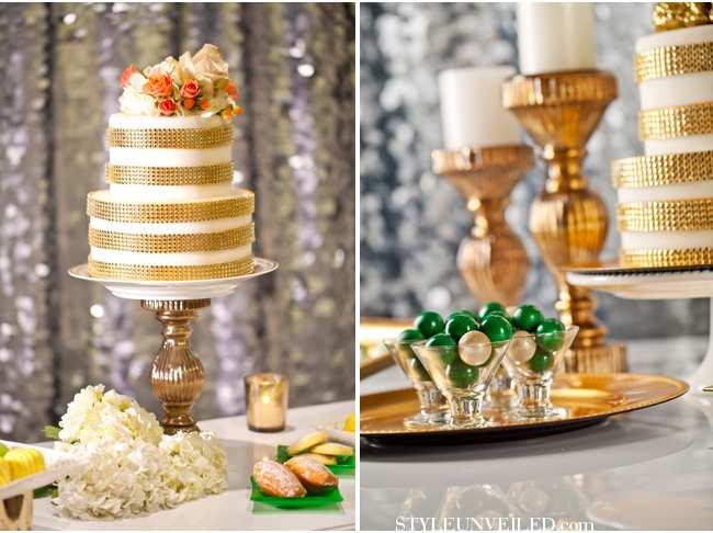 weselne inspiracje w barwach złota i szmaragdu - dessert bar