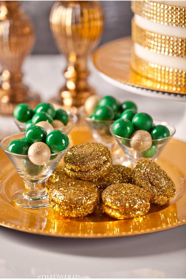 weselne inspiracje w barwach złota i szmaragdu - weselne przekąski