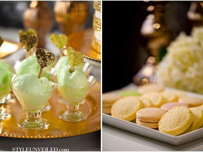 weselne inspiracje w barwach złota i szmaragdu - weselny deser