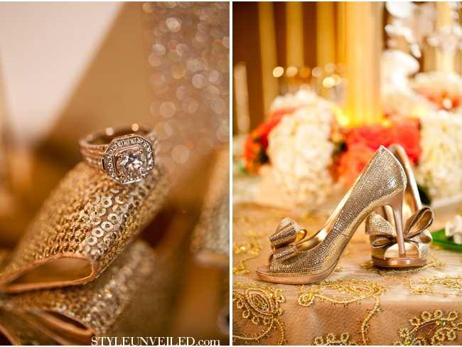 weselne inspiracje w barwach złota i szmaragdu - dodatki Panny Młodej