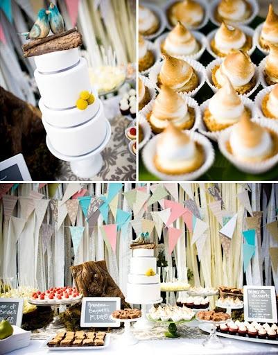 weselny dessert bar z dekoracjami