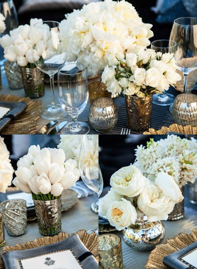 złote i srebrne dekoracje weselne