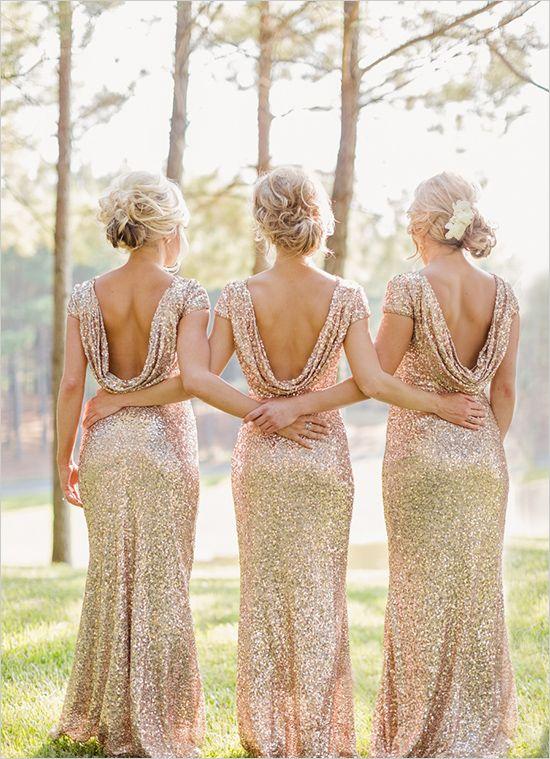 złote suknie druhen