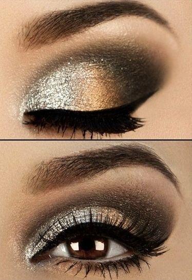 złoto-srebrny makijaż